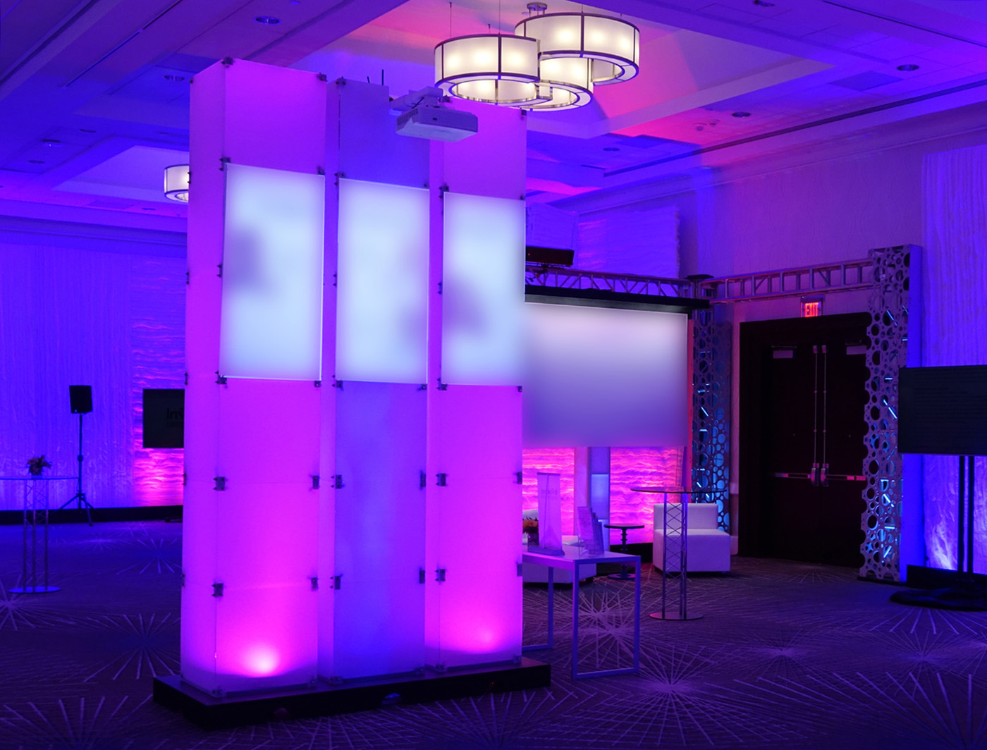 Frosty Supercolumns work together to illuminate corporate displays