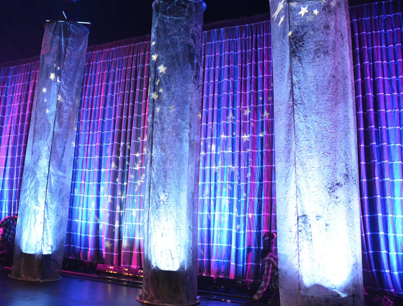 Lynes SuperZipper Panels behind Voile Columns
