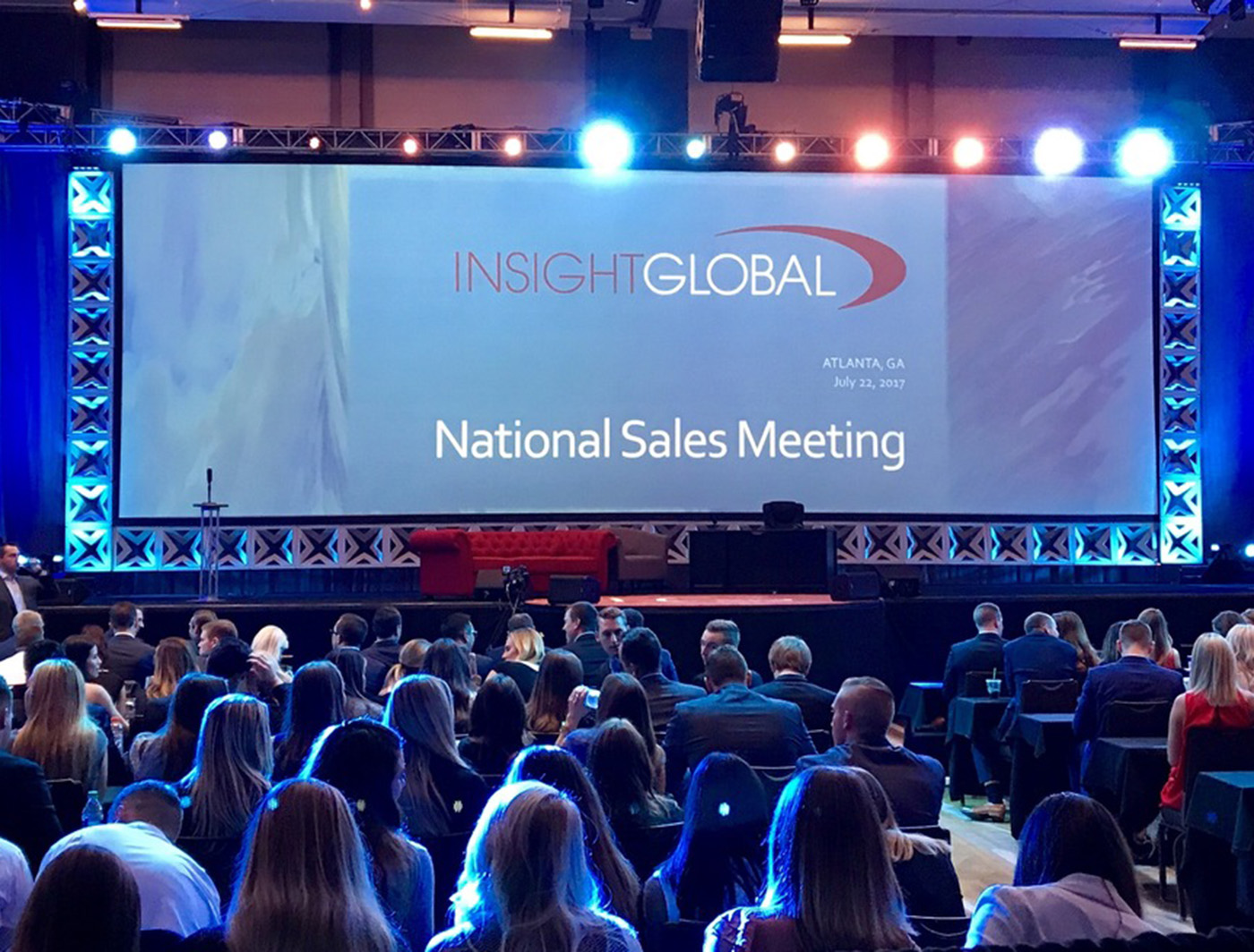Xplode surrounds the screen at insight global (photo from Jeremy Jackson LIVE EVENT SOLUTIONS)