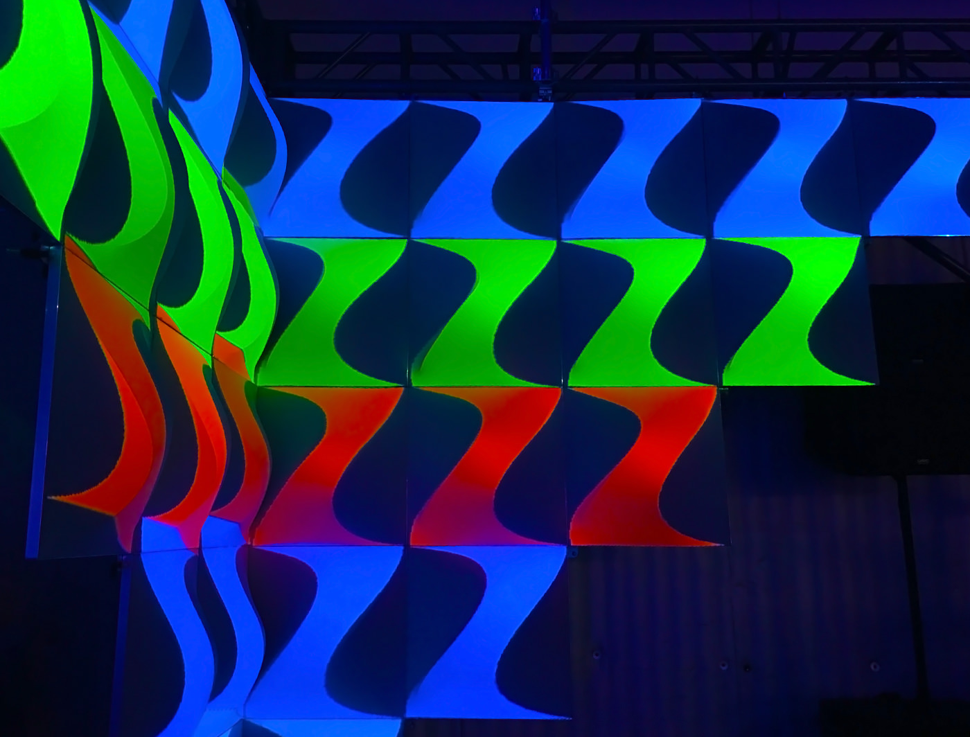 FABlok Wave with Projection Mapping, Designed by Matthew Gavin Enterprises and Projection Mapping by Searchlight Visuals