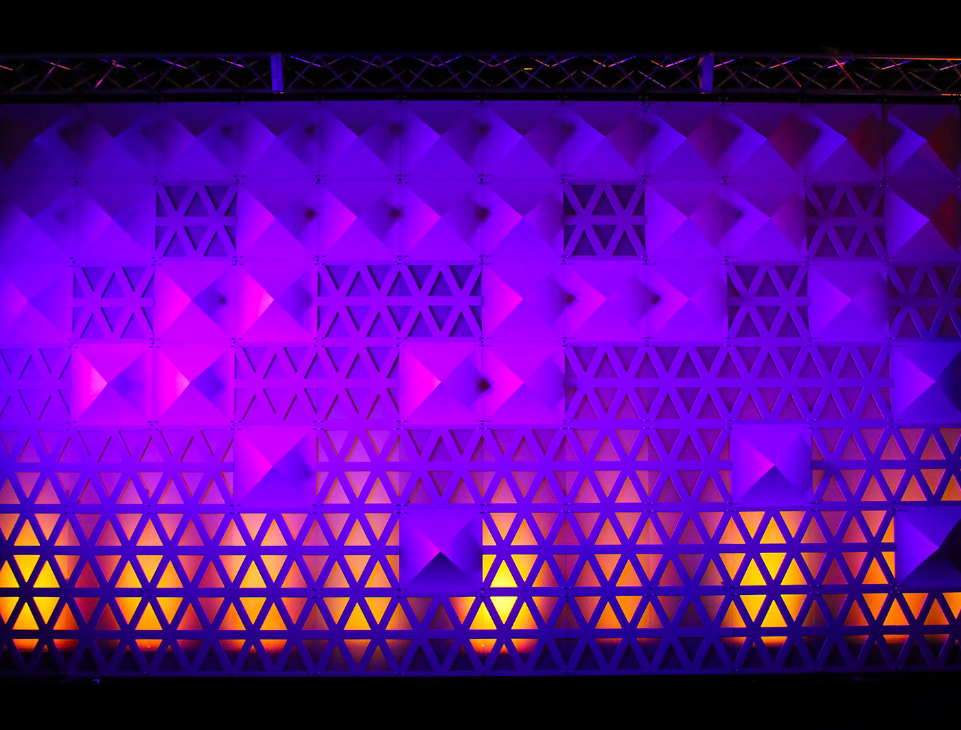 Triad panels paired well with Pyramid panels to make this stunning backdrop