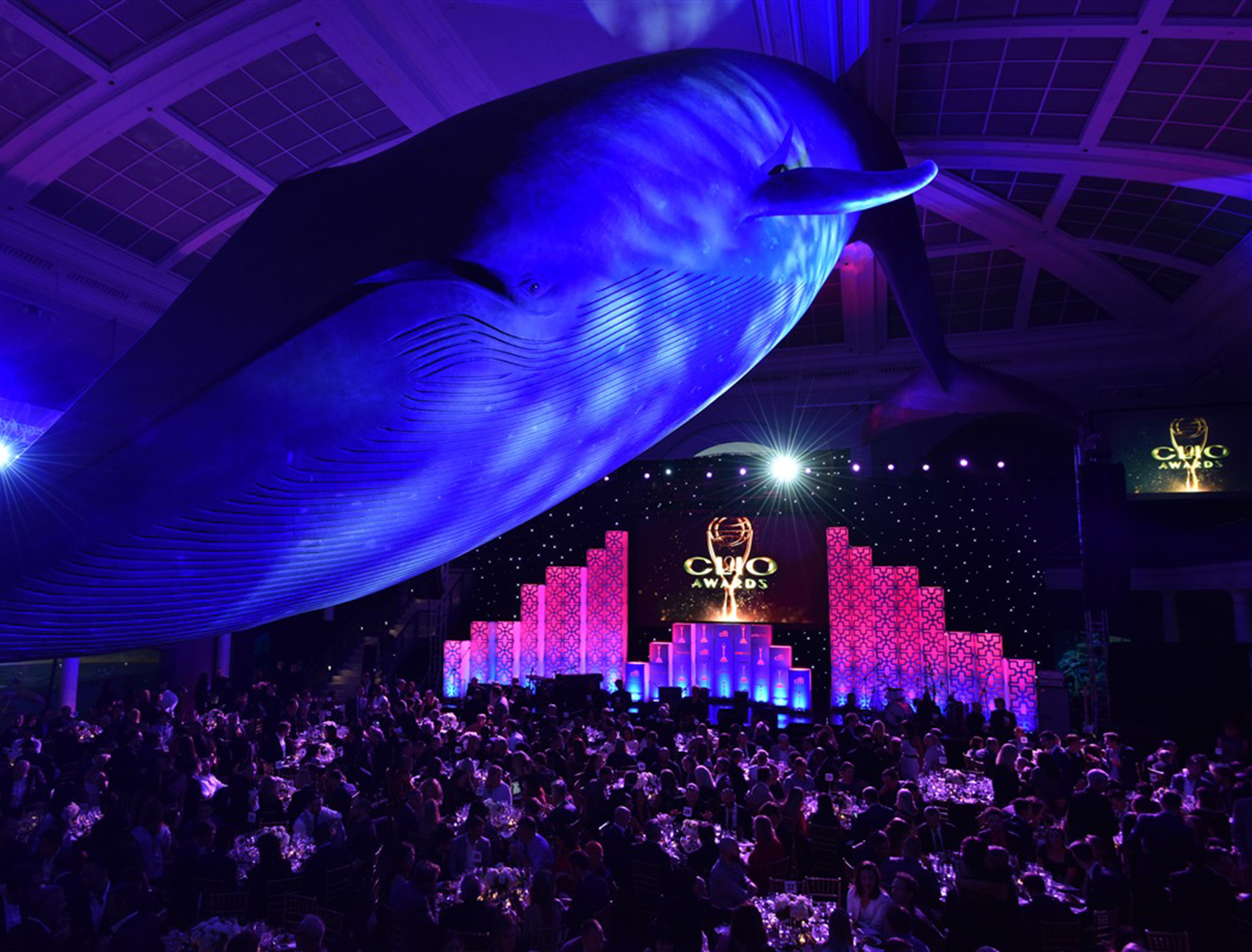 Clover on stage at the Clio Awards (Photo and Design Credit to Matthew Gavin)