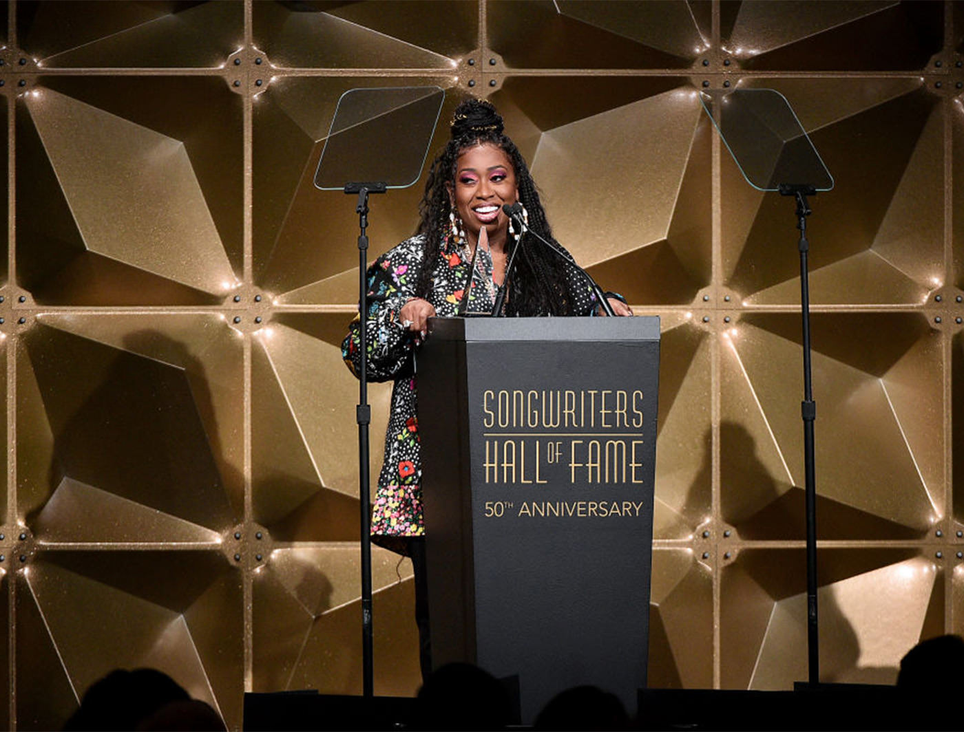 Premium Gold Zeddit Panels created a dazzling backdrop behind Missy Elliot at the Songwriters Hall of Fame