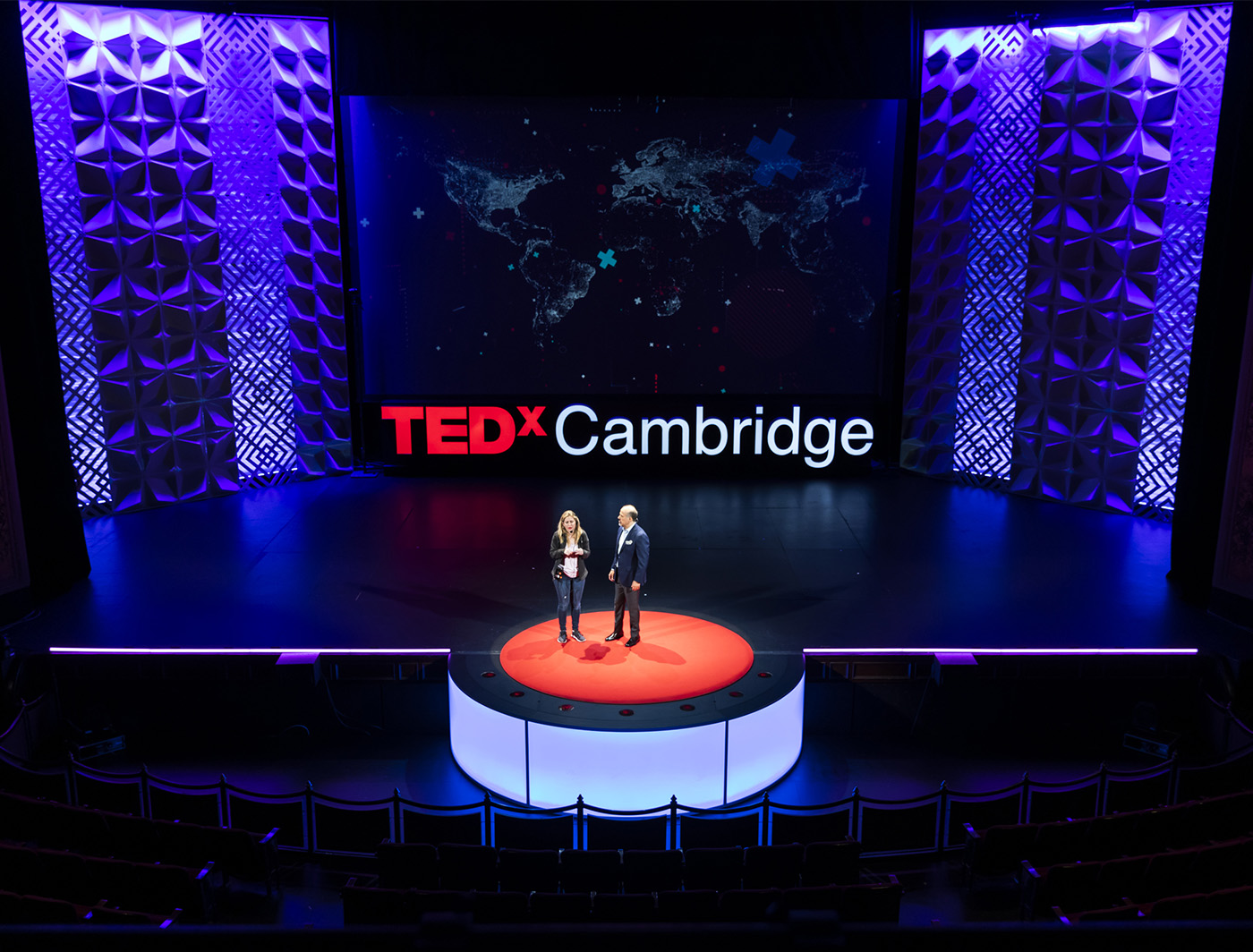 Zeddit and Comb SuperLever panels created this backdrop at the 2019 TEDxCambridge event