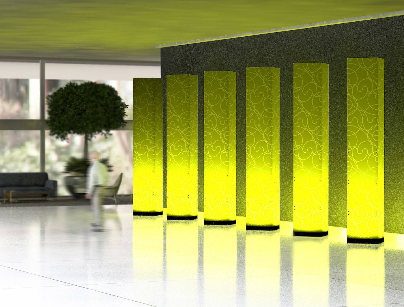 Swirl SuperColumns add texture to a lobby space
