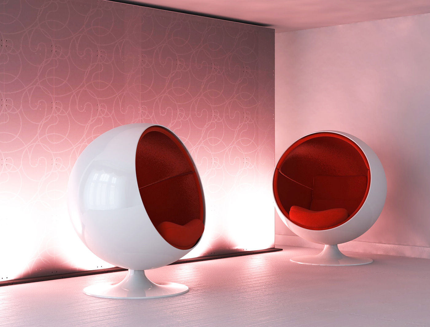 Swirl SuperWall creates a unique lounge space