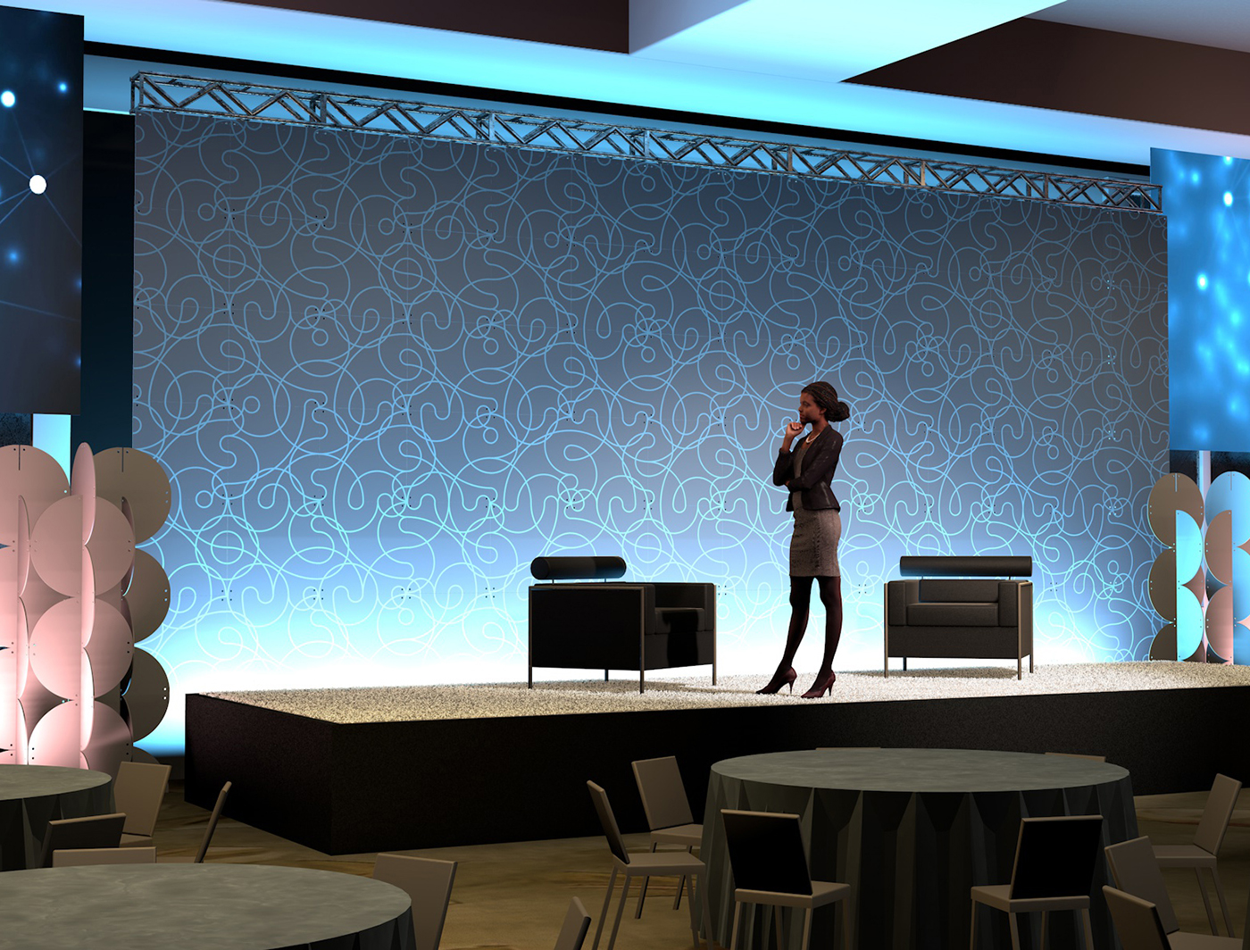 Swirl backdrop sets the stage for any show