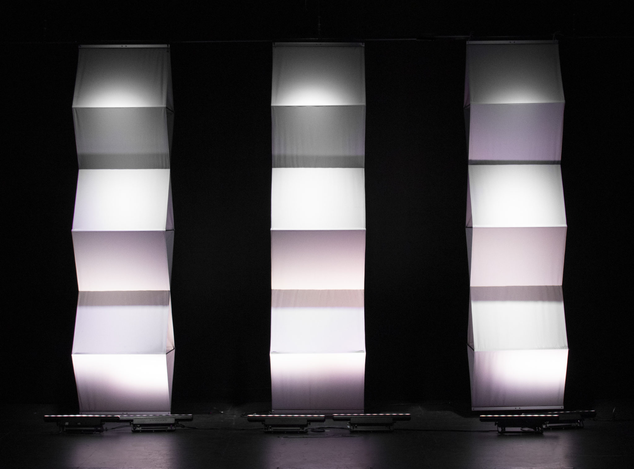 Yoga panels with white lighting